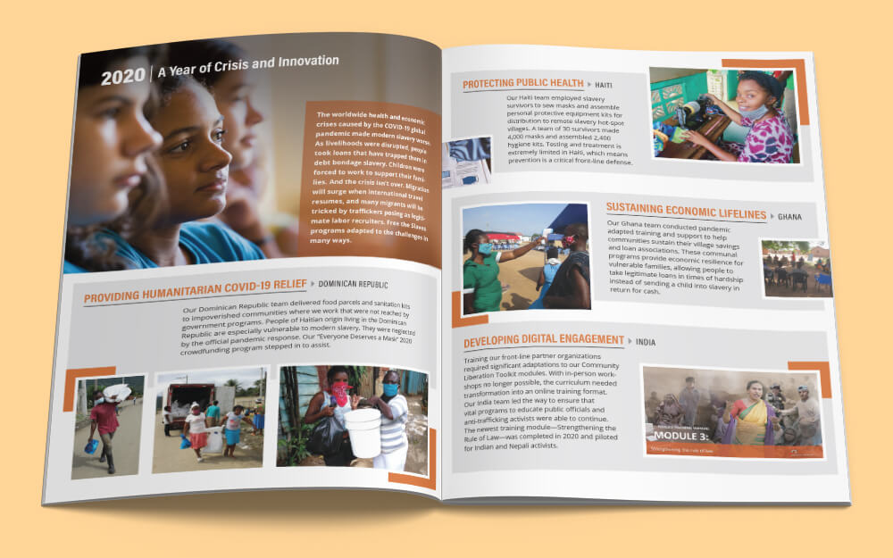 Interior spread from Free the Slaves Annual Impact Report 2020.